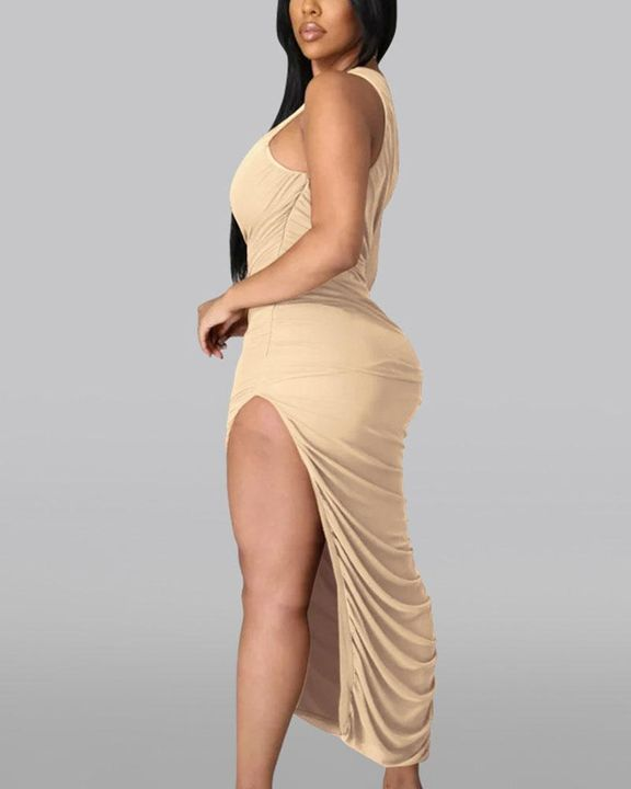 Solid One Shoulder Split Thigh Ruched Dress gallery 18