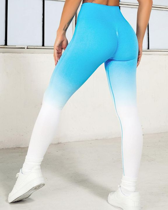 Ombre Wide Waistband Butt Lifting Sports Leggings gallery 15