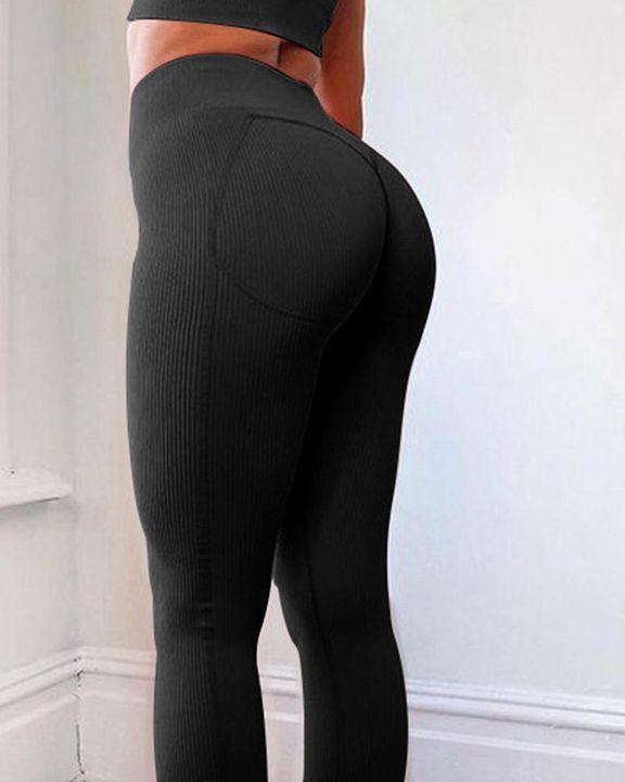 Rib Knit Wide Waistband Butt Lifting Sports Leggings gallery 2