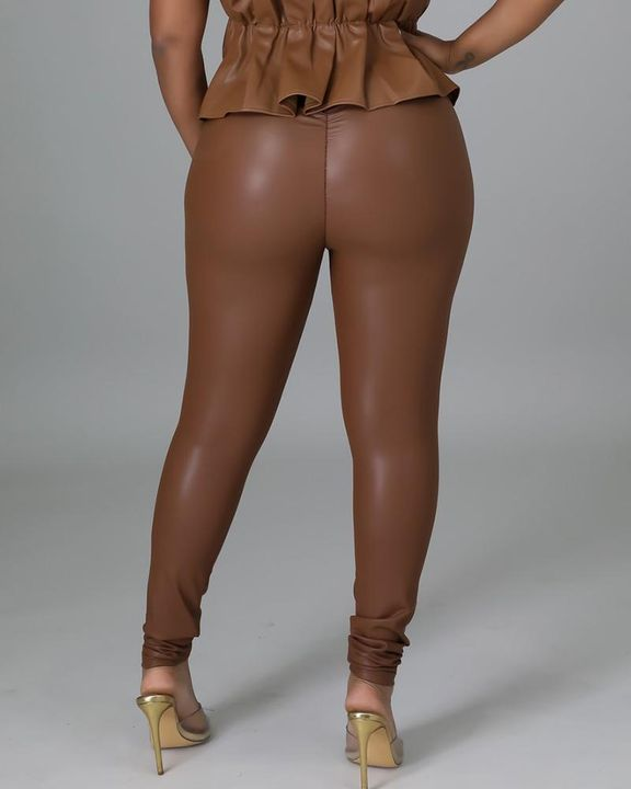 High Waist PU Skinny Pants gallery 7