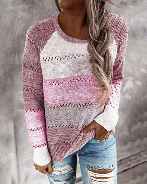 Colorblock Rib-Knit Hollow Out Round Neck Sweater gallery 6