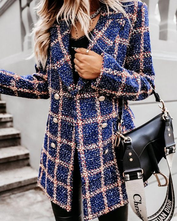 Houndstooth Double Breasted Lapel Neck Coat gallery 4