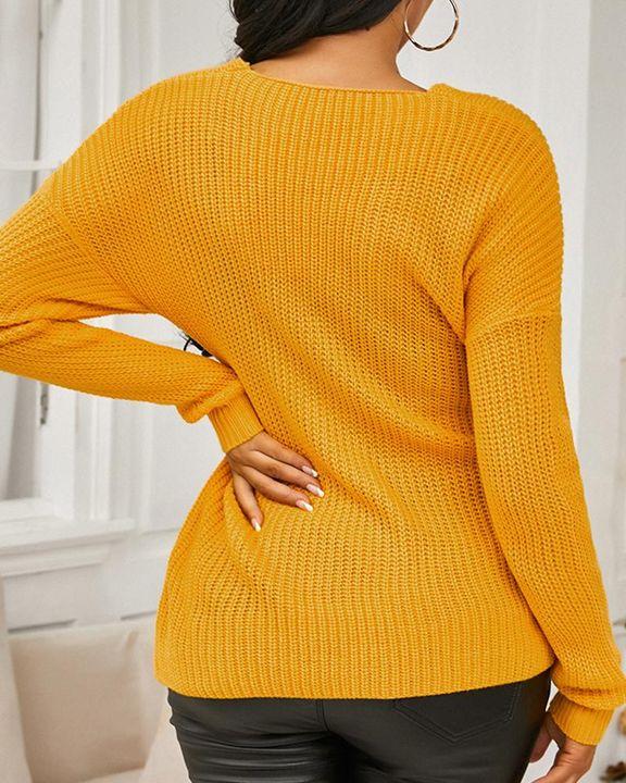 Keyhole Neck Overlap Split Hem Rib Knit Sweater gallery 4