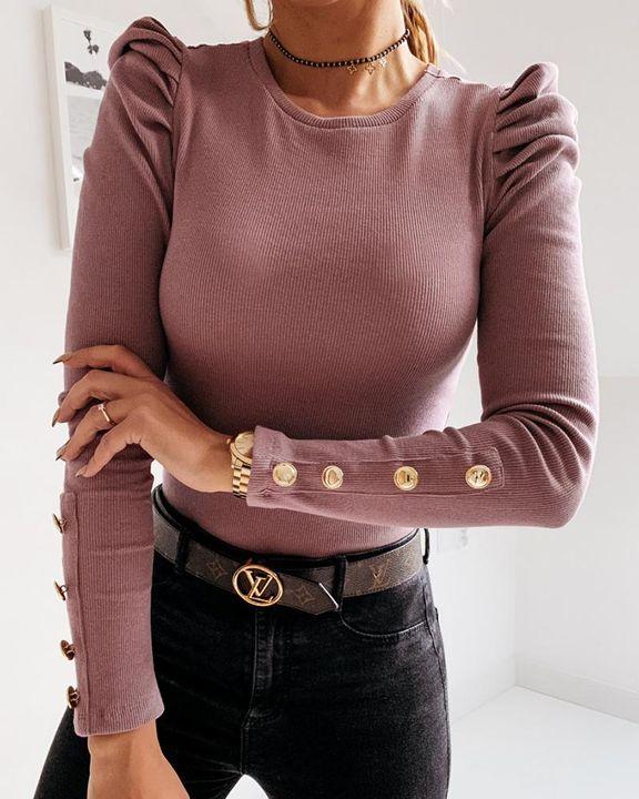 Rib Knit Leg-of-mutton Sleeve Button Trim Sweater gallery 3