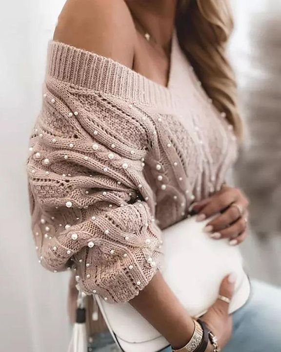 Solid Cable Knit Pearls Beaded V Neck Sweater gallery 4