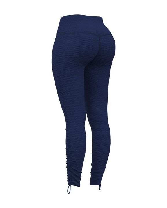 Knot Side Textured Wide Waistband Sports Leggings gallery 2