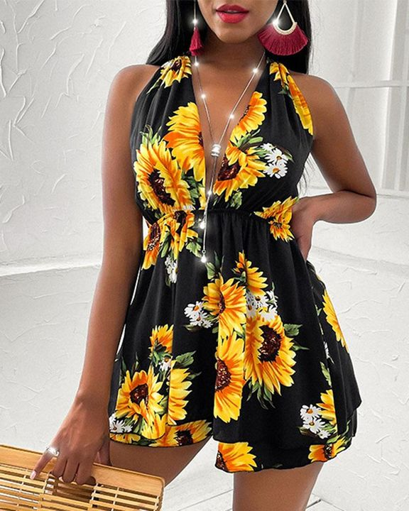 Floral Print Tiered Layer Cut Out Halter Mini Dress gallery 2