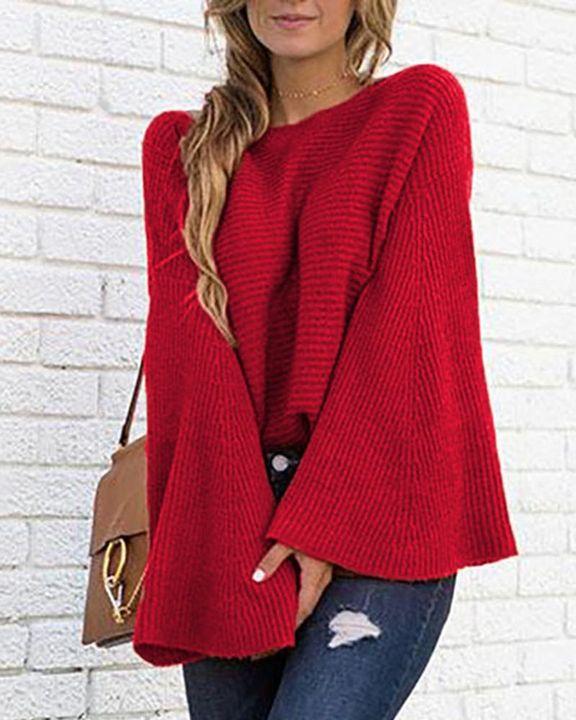 Solid Bell Sleeve Scoop Neck Sweater gallery 5