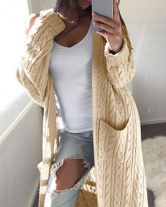 Solid Patch Pocket Open Front Cable Knit Cardigan gallery 5
