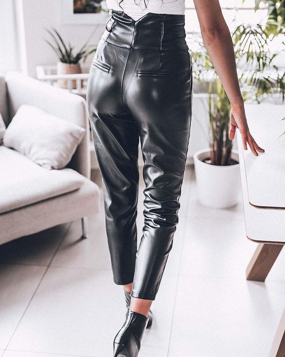 Button Front V Wired Wide Waistband PU Pants gallery 2