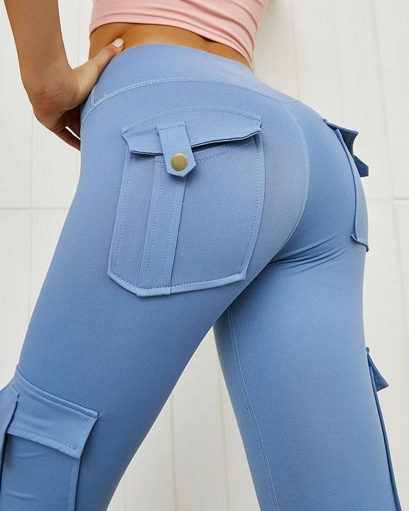 Flap Pocket Butt Lifting Top Stitching Sports Leggings gallery 1