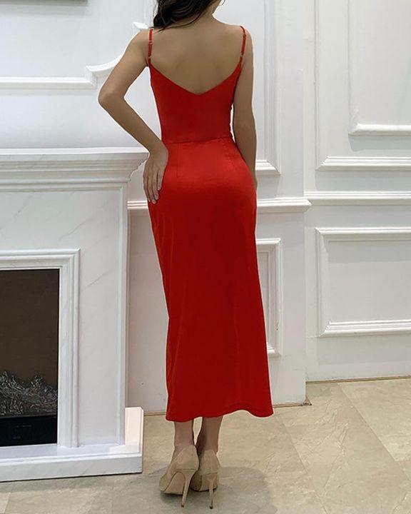 Satin Split Thigh Wrap Midi Dress gallery 4