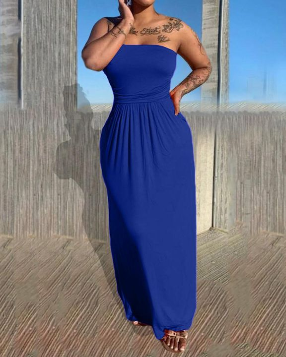 Solid Strapless Maxi Dress gallery 6