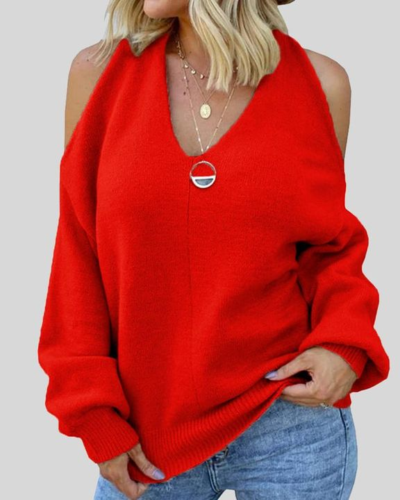 Solid Cold Shoulder Rib Knit Sweater gallery 3