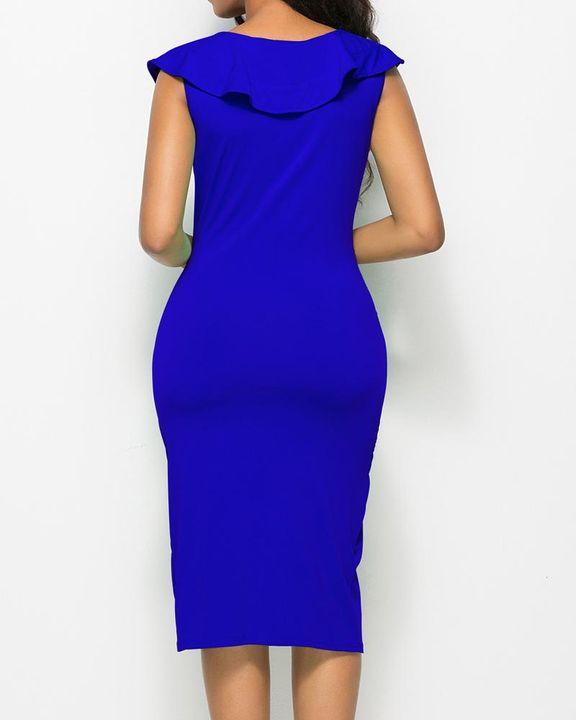 Solid Ruffle Trim Ruched Wrap Asymmetrical Hem Knee Length Dress gallery 11