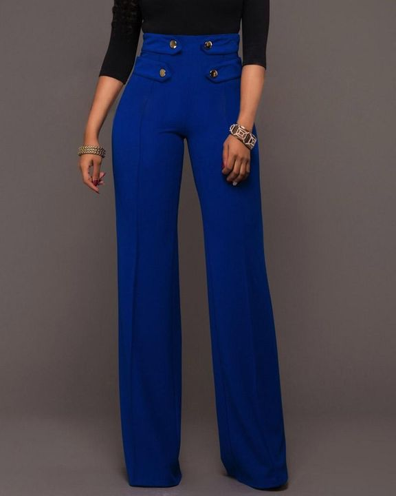 Solid Studded Button Decor Wide Leg Pants gallery 3