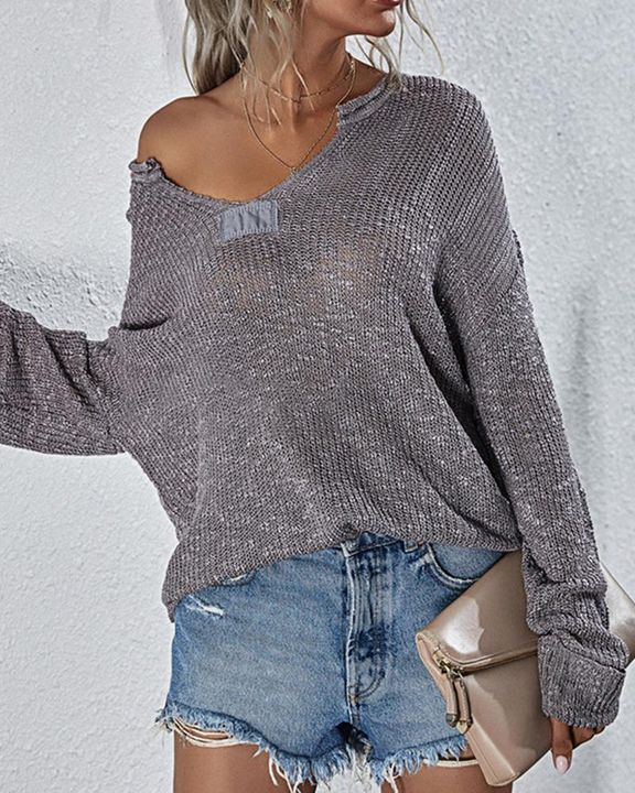 Chunky Knit V Neck Long Sleeve Sweater gallery 4