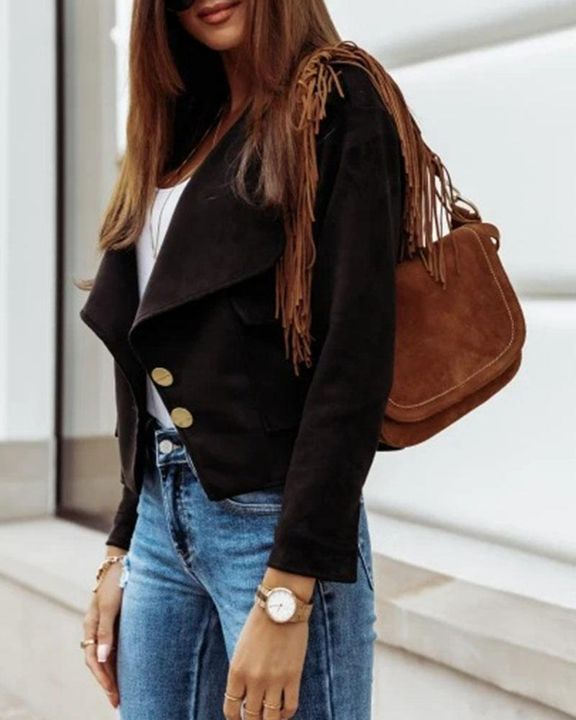 Suede Button Front Flap Pocket Moto Jacket gallery 4