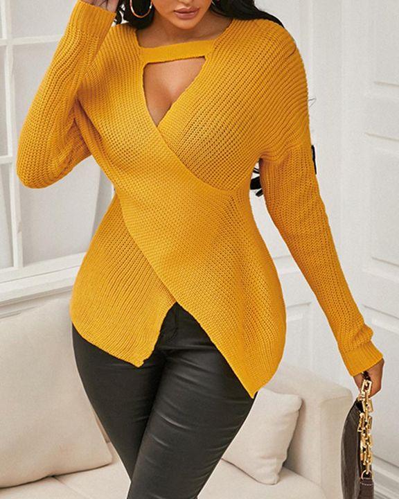 Keyhole Neck Overlap Split Hem Rib Knit Sweater gallery 2