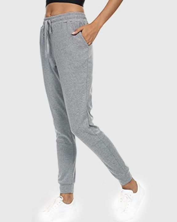 Solid Drawstring Front Pocket Detail Sports Pants gallery 9