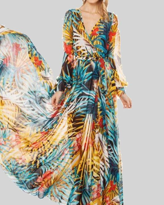 Tropical Print Belted Pleated Surplice Neck Maxi Dress gallery 4