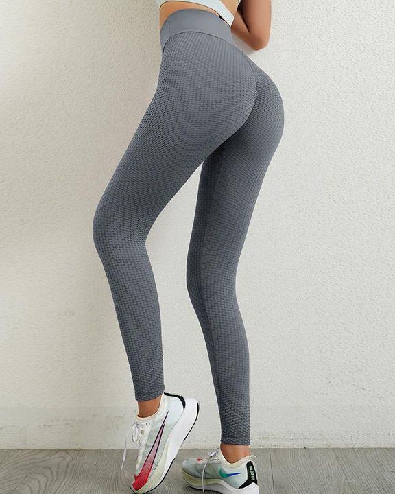 Solid Textured Wide Waistband Scrunch Butt Sports Leggings gallery 9