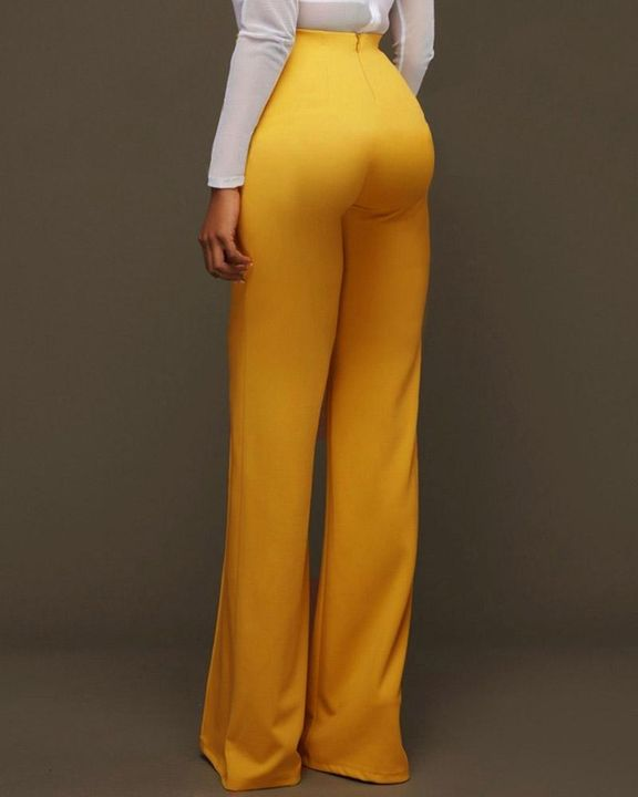 Solid Studded Button Decor Wide Leg Pants gallery 5