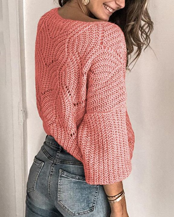 Solid Rib-Knit Hollow Out Sweater gallery 8