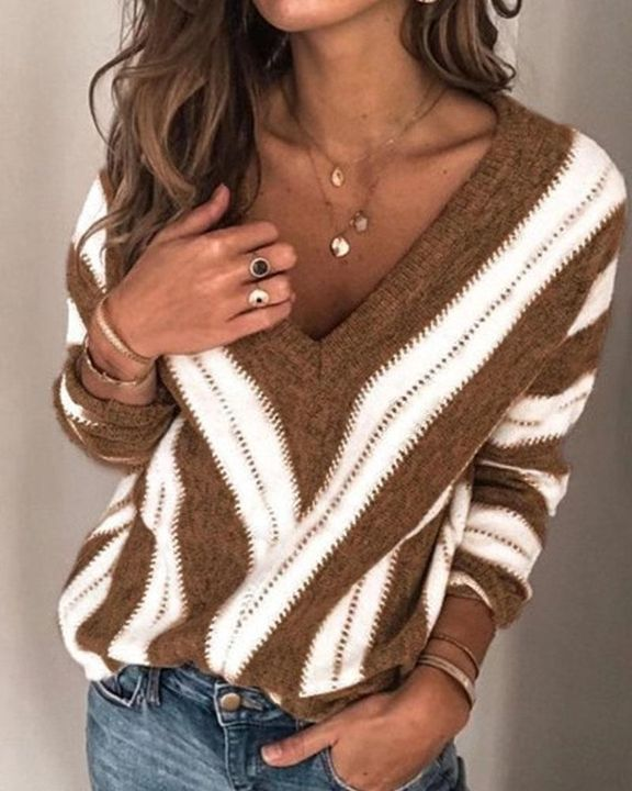 Colorblock Drop Shoulder Ribbed Knit Sweater gallery 4
