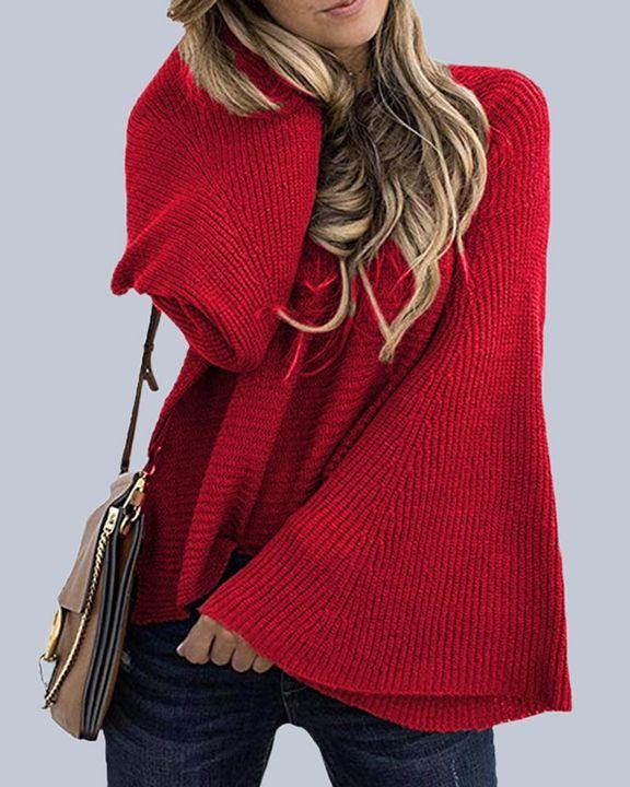 Solid Bell Sleeve Scoop Neck Sweater gallery 1