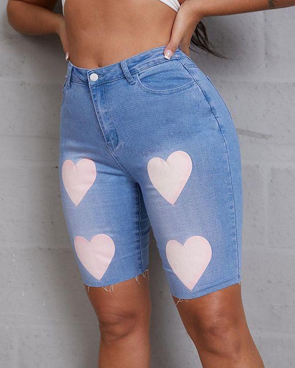 Heart Pattern Bermuda Denim Shorts gallery 6