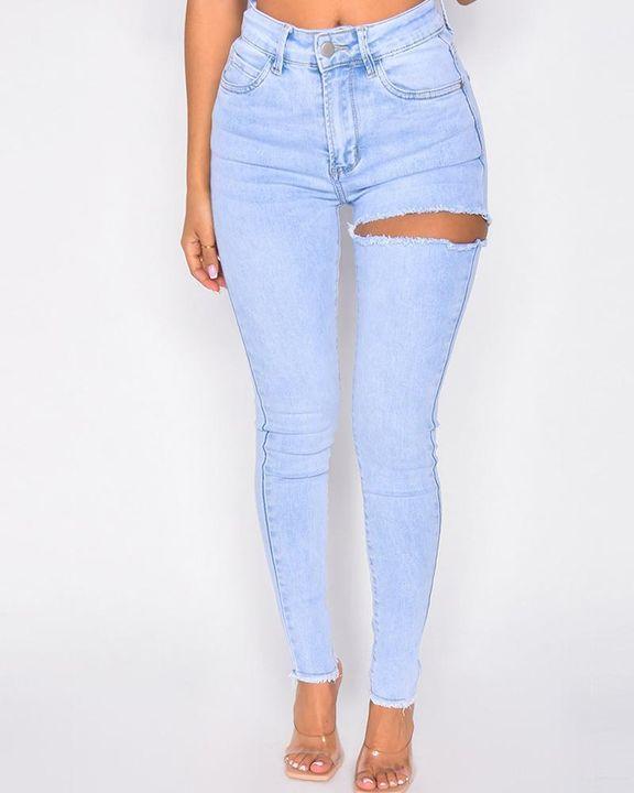 Cutout Raw Hem High Waist Skinny Jeans gallery 4