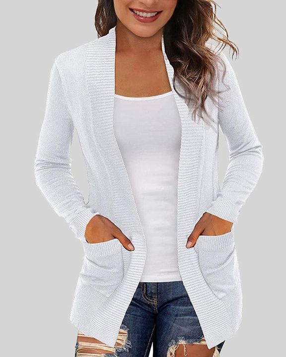 Solid Ribbed Pocket Detail Open Front Cardigan gallery 6
