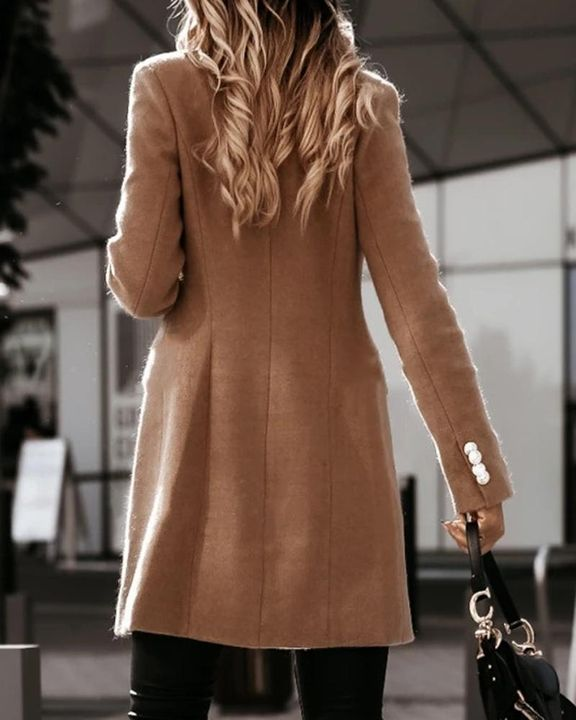 Solid Double Breasted Lapel Neck Coat gallery 5