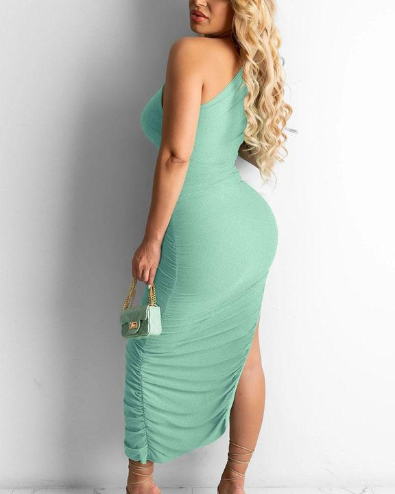 Solid One Shoulder Split Thigh Ruched Dress gallery 17