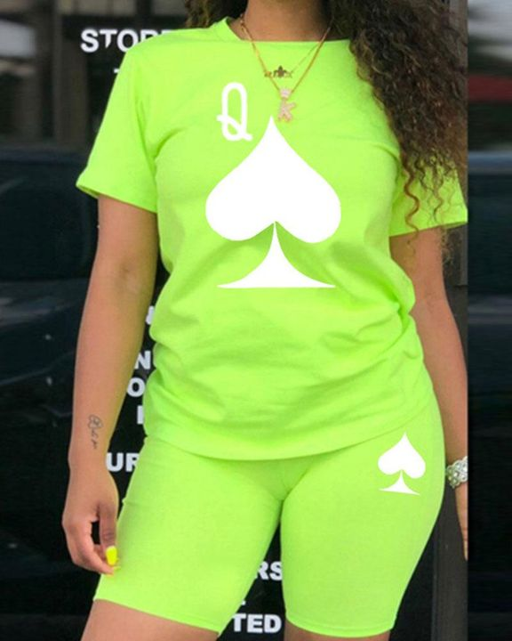 Playing Card Print Round Neck Top & Shorts Set gallery 2