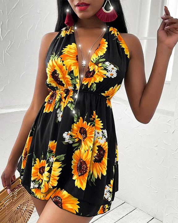 Floral Print Tiered Layer Cut Out Halter Mini Dress gallery 8