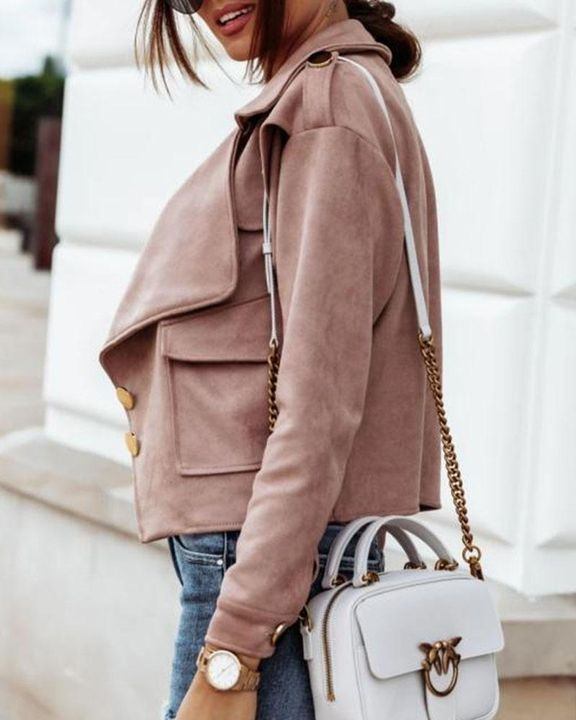 Suede Button Front Flap Pocket Moto Jacket gallery 2