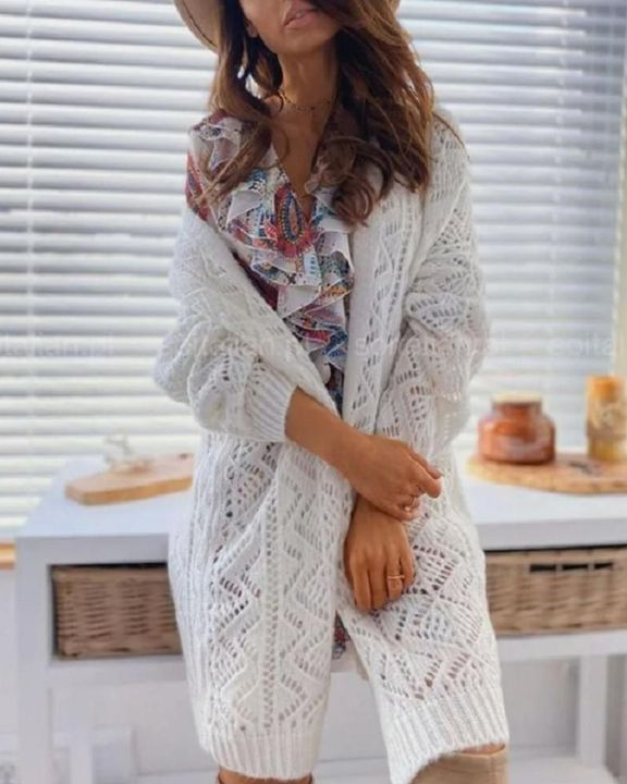 Solid Hollow Out Open Front Cardigan  gallery 3
