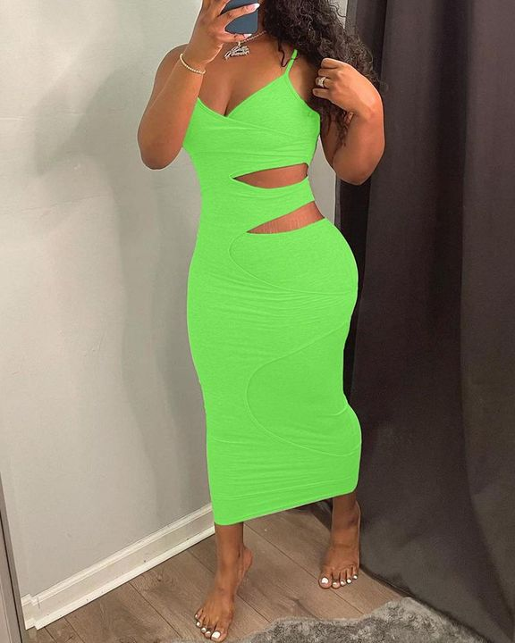 Solid Hollow Out Surplice Neck Cami Dress gallery 7