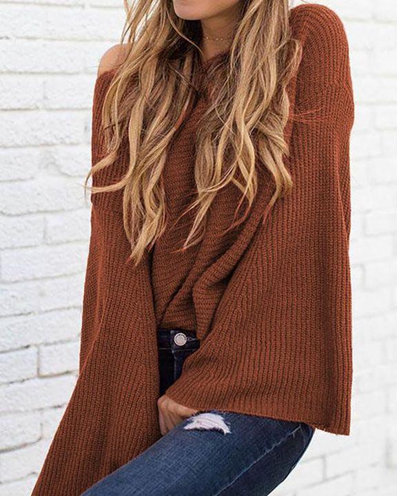 Solid Bell Sleeve Scoop Neck Sweater gallery 10