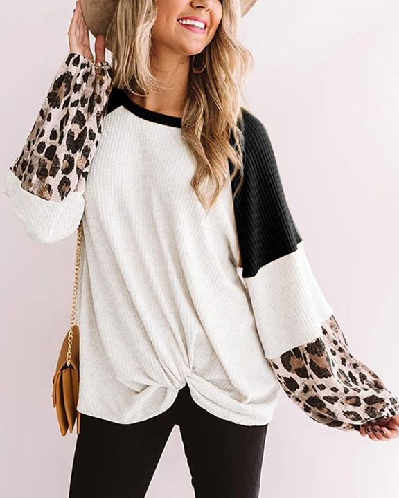 Cheetah Panel Colorblock Twist Front Drop Bishop Sleeve Sweater gallery 3