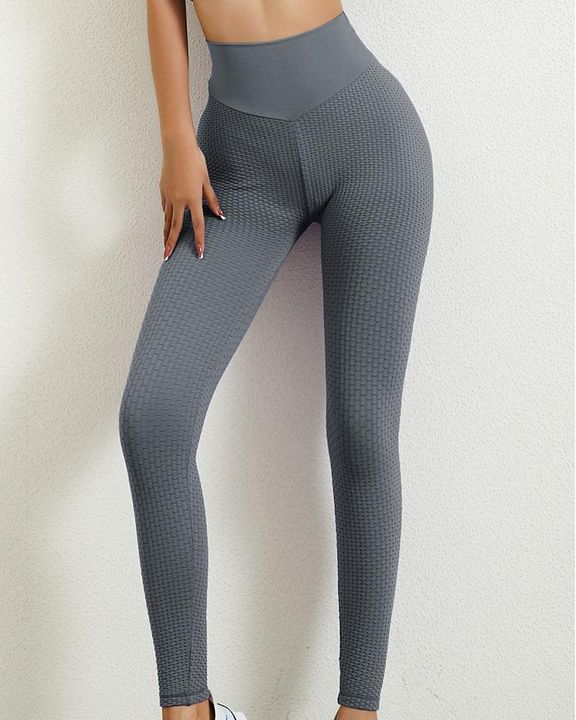 Solid Textured Butt Lifting Leggings gallery 9