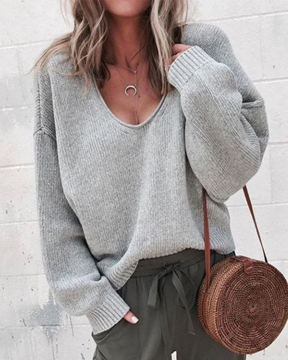 Solid Rib-knit Drop Shoulder Sweater gallery 7