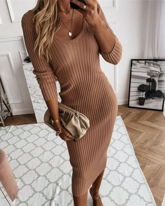 Solid Rib-Knit Form Fitted Maxi Dress gallery 5