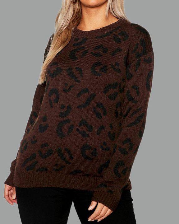 Leopard Print Rib-Knit Round Neck Sweater gallery 5
