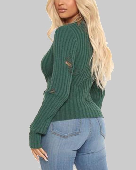 Rib Knit Ripped Bodycon Sweater gallery 3