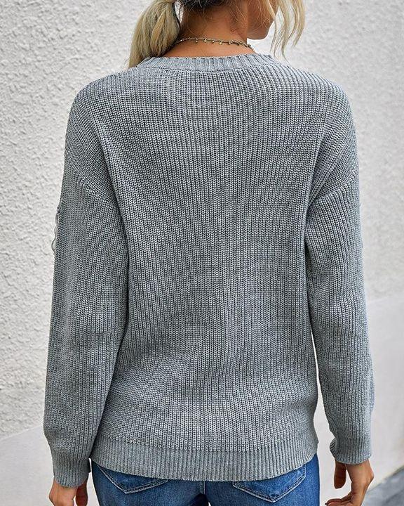 Solid Fringe Trim Drop Shoulder Sweater gallery 6