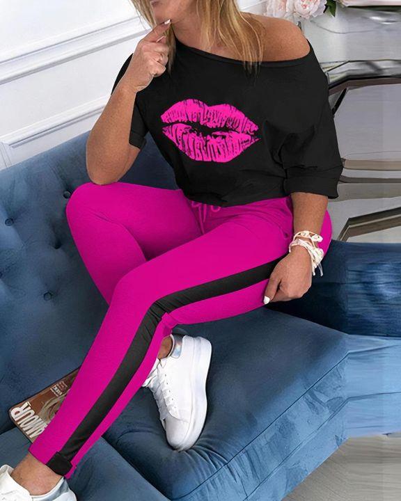 Lip Print Two Tone Drawstring Waist Long Sleeve T-Shirt & Pants Set gallery 5