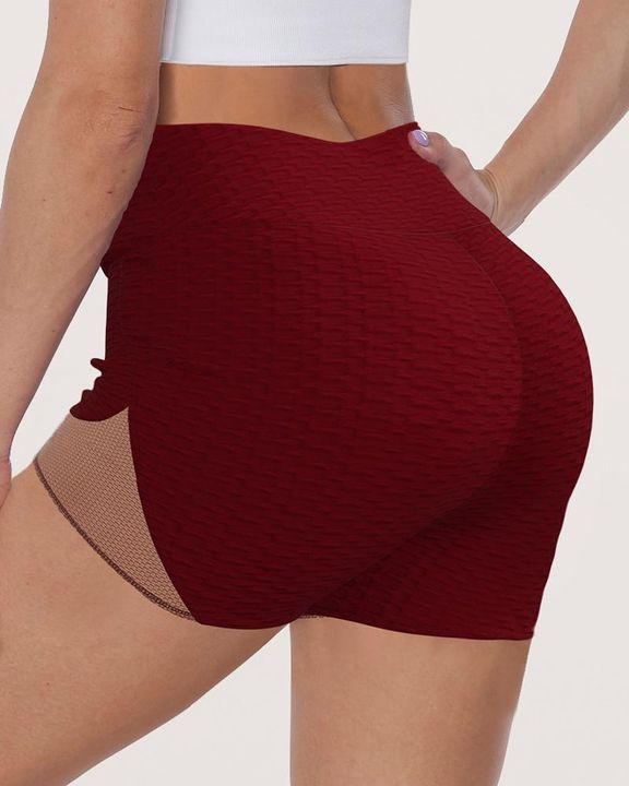 Colorblock Textured High Waist Sports Shorts gallery 1